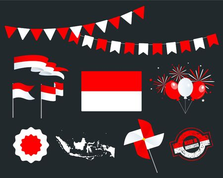 National holiday. Independence Day of Indonesia set of vector design elements, Made in Indonesia. Map, flags, ribbons, turntables, sockets. Vector symbolism, set for your infographics. August 17