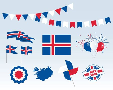 National holiday. Independence Day Iceland set of vector design elements, Made in Iceland. Map, flags, ribbons, turntables, sockets. Vector symbolism, set for your info graphics. June 17