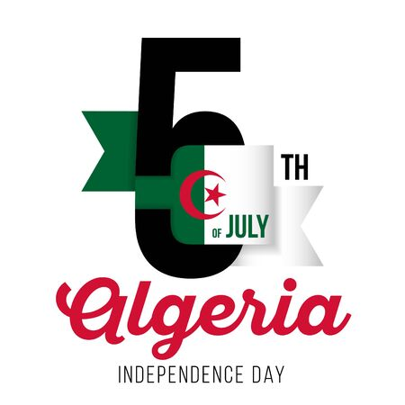 Congratulatory design for July 5, Algeria Independence Day. Text  with Algeria flag colors. Vector illustration.