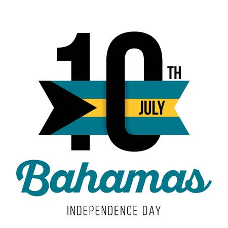 Congratulatory design for July 10, Bahamas Independence Day and text with the colors of the flag of the Bahamas. Vector illustration