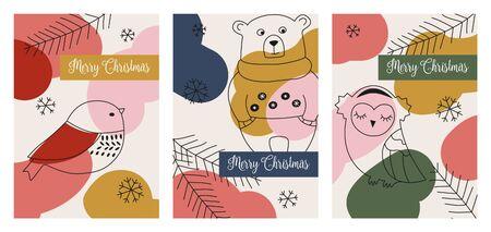 Set of three christmas greeting cards