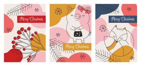Set of three Christmas cards with images of forest animals and snowflakes.