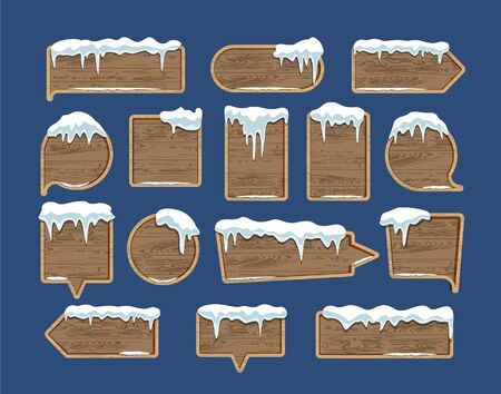 Wooden plates, pointers, signboards. Lying snow. Winter. The style is cartoon. Isolated set of plates. Vector illustration Vectores