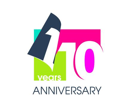 110 years anniversary colored logo isolated on a white background for the celebration of the company. Vector Illustration Design Template