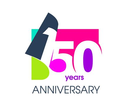 150 years anniversary colored logo isolated on a white background for the celebration of the company. Vector Illustration Design Template 向量圖像