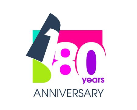180 years anniversary colored logo isolated on a white background for the celebration of the company. Vector Illustration Design Template