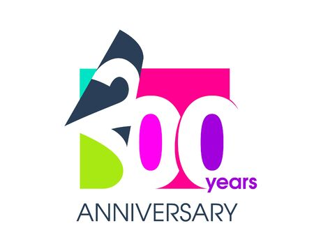 200 years anniversary colored logo isolated on a white background for the celebration of the company. Vector Illustration Design Template