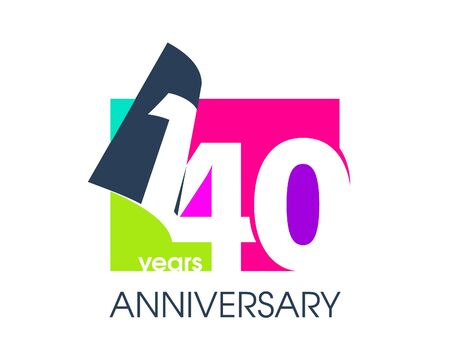 140 years anniversary colored logo isolated on a white background for the celebration of the company. Vector Illustration Design Template 向量圖像