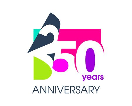 250 years anniversary colored logo isolated on a white background for the celebration of the company. Vector Illustration Design Template