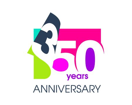 350 years anniversary colored logo isolated on a white background for the celebration of the company. Vector Illustration Design Template