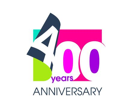 400 years anniversary colored logo isolated on a white background for the celebration of the company. Vector Illustration Design Template