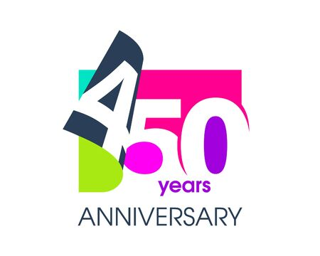 450 years anniversary colored logo isolated on a white background for the celebration of the company. Vector Illustration Design Template