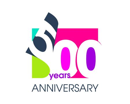 500 years anniversary colored logo isolated on a white background for the celebration of the company. Vector Illustration Design Template 向量圖像