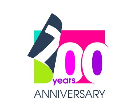 700 years anniversary colored logo isolated on a white background for the celebration of the company. Vector Illustration Design Template