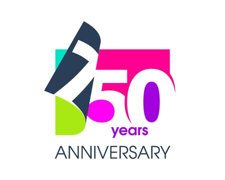 750 years anniversary colored logo isolated on a white background for the celebration of the company. Vector Illustration Design Template