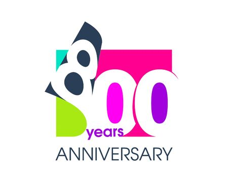 800 years anniversary colored logo isolated on a white background for the celebration of the company. Vector Illustration Design Template