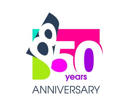 850 years anniversary colored logo isolated on a white background for the celebration of the company. Vector Illustration Design Template