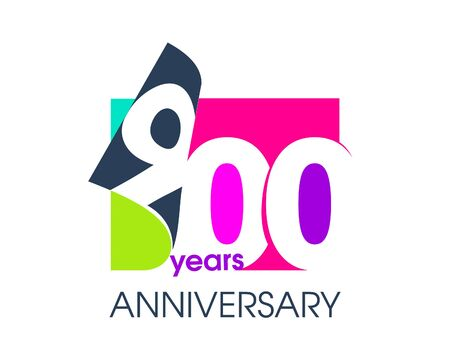 900 years anniversary colored logo isolated on a white background for the celebration of the company. Vector Illustration Design Template 向量圖像