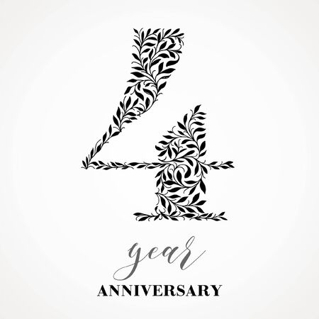 4 year anniversary. Number four consists of a leafy leaf pattern. No gradient fill. Vector is easy to customize. View the entire series.