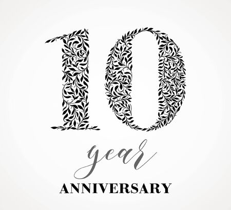 10 year anniversary. Number ten consists of a leafy leaf pattern. No gradient fill. Vector is easy to customize. View the entire series.