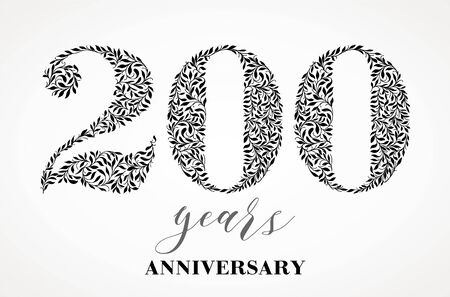 Happy birthday card with number 200. Vector Anniversary Celebration Design Background. Patterned style Illustration.