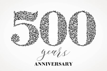 500th anniversary. Number five hundred consists of a sheet drawing. No gradient fill. Vector is easy to customize.