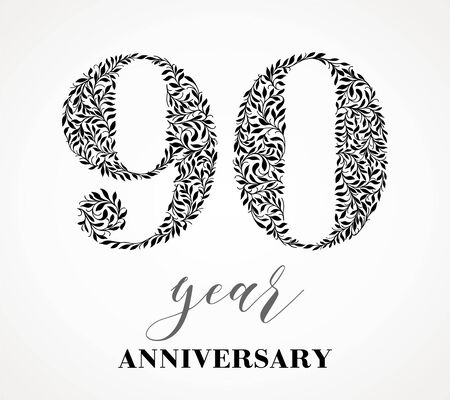 90th anniversary. Number ninety consists of a leaf pattern. No gradient fill. Vector is easy to customize. View the entire series.
