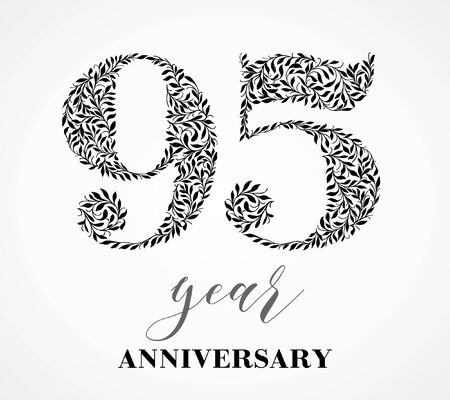 95th anniversary. Number ninety-five consists of a leaf pattern. No gradient fill. Vector is easy to customize. View the entire series