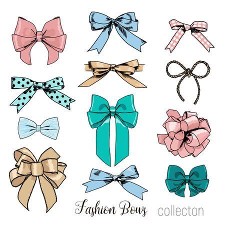 Set of vintage bows. Vector illustration EPS8 Vetores