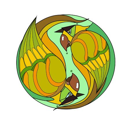 Two beautiful little green and yellow parrot birds on a green circle background. Vector illustration. Logo Logo