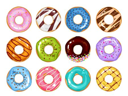 Set of cartoon colorful donuts isolated on white background. Top View Doughnuts collection into glaze for menu design, cafe decoration, delivery box. vector illustration in flat style Ilustracje wektorowe