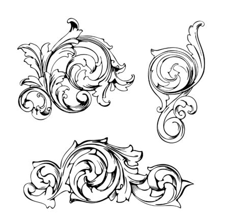 Vintage Baroque Victorian frame border tattoo floral ornament leaf scroll engraved retro flower pattern decorative design tattoo black and white filigree calligraphic vector heraldic swirl set