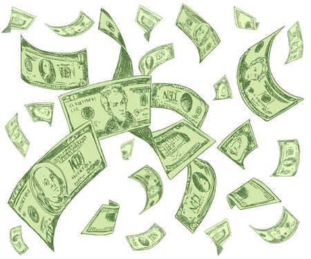 One hundred US dollar bills are falling on white background. Great use for money and finance related concepts. Isolated on white background. Vector illustration