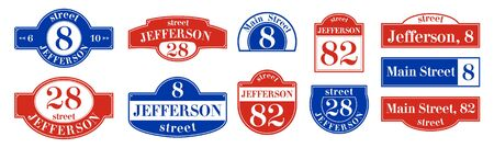 Plates with house numbers. Template. Vector illustration.