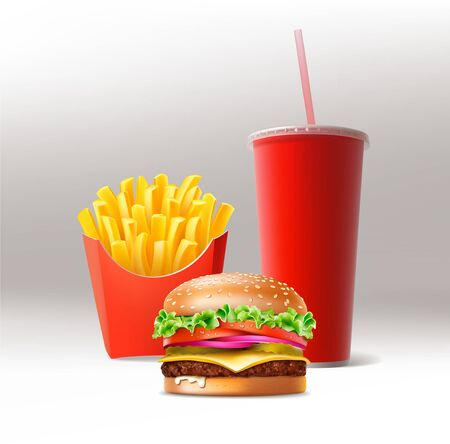 Vector Fast Food Set of Realistic Hamburger Classic Burger Potatoes French Fries in Red Package Box Blank Paper Cup for Soft Drinks with Straw Isolated on White Background.