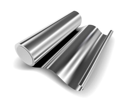 Vector roll of aluminium foil close up isolated on white background