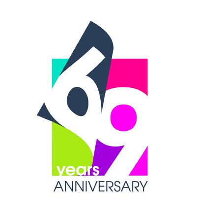 69 years anniversary colored logo isolated on a white background for the celebration of the company. Vector Illustration Design Template