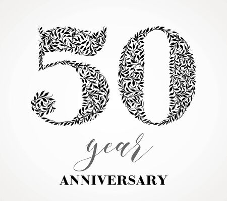 50th anniversary. Number fifty consists of a leaf pattern. No gradient fill. Vector is easy to customize. View the entire series.