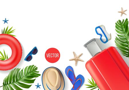 Vector composition with beach accessories on a white background. In red blue tones.