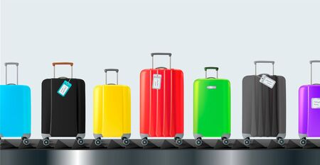 Different colorful luggage bag. Suitcase set on conveyor belt. Baggage claim at terminal airport travel bags vector background flat design. Concept & creative vacation holiday