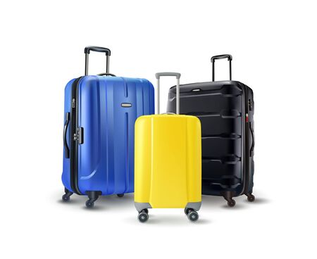 Bright travel suitcases isolated on the white background. Vector illustration
