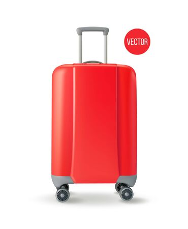 Vector. Road corrugated plastic red suitcase. Facade. Isolated on white background