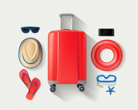 Vector lay red suitcase with traveler accessories on white bright background. Travel concept