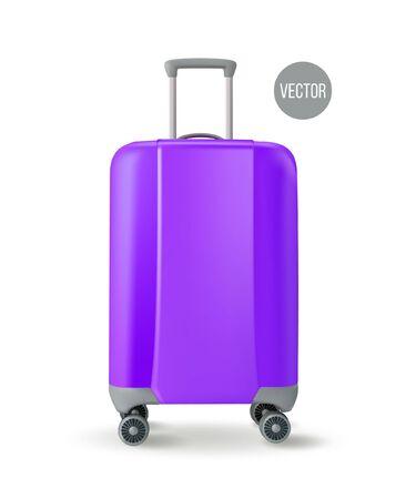 Vector. Road corrugated plastic violet suitcase. Facade. Isolated on white background Illusztráció
