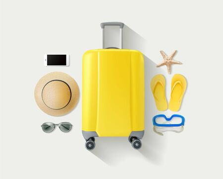Vector lay yellow suitcase with traveler accessories on white bright background. Travel concept 向量圖像