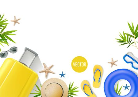Vector composition with beach accessories on a white background. In yellow tones. 向量圖像