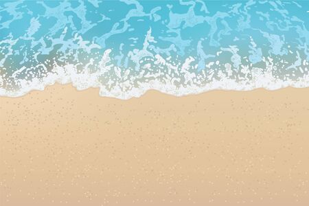 Beautiful sandy beach and soft blue ocean wave. View from above. Vector