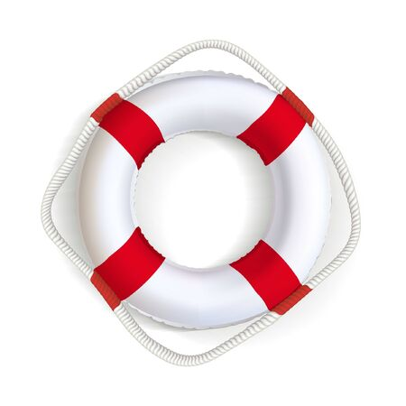 Life buoy. Realistic safety ring with red stripes. Shipwreck rescue equipment. Inflatable sos, help symbol. Survival water float. Vector white and red lifeguard. Travelling and adventure symbol. Foto de archivo - 150128635