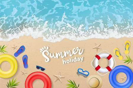 Vector summertime top view illustrations set with Summer word lettering on beach sand and sea water background