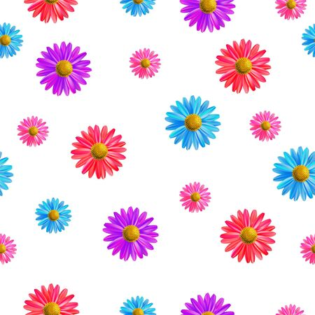 Cute spring flowers and seamless vector patterns Ilustracja
